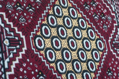 Beautiful traditional-style textiles on the lounge deck